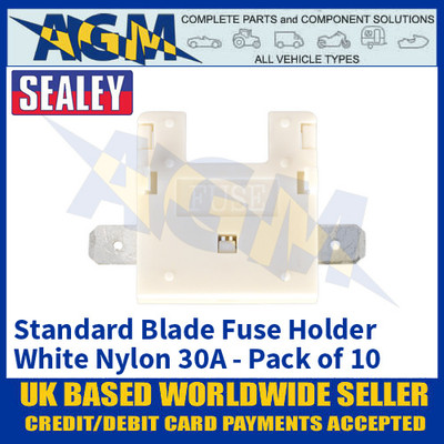 Sealey FHW30 Standard Blade Fuse Holder White Nylon 30A Pack of 10