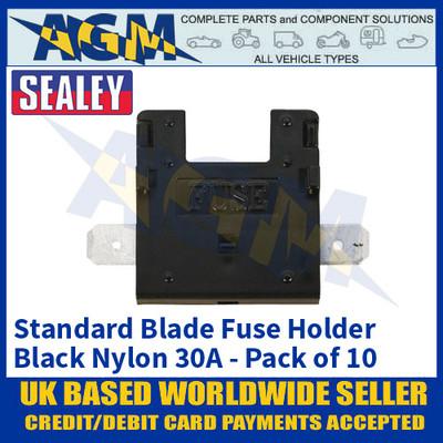Sealey FHB30 Standard Blade Fuse Holder Black Nylon 30A Pack of 10