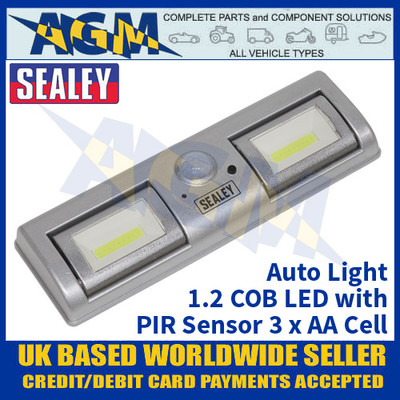 Sealey GL931 Auto Light 1.2W COB LED with PIR Sensor 3 x AA Cell