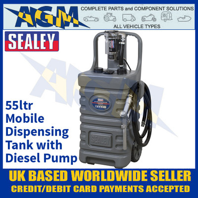 Sealey DT55GCOMBO1 55ltr Mobile Dispensing Tank with Diesel Pump - Grey