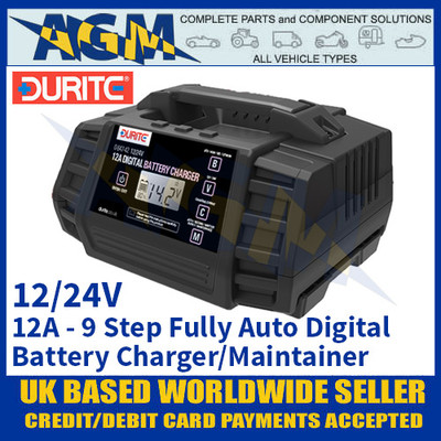 Durite 0-647-42 12 Amp 9 Step Fully Automatic Digital Battery Charger Maintainer - 12/24V