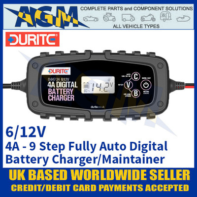 Durite 0-647-34 4 Amp 9 Step Fully Automatic Digital Battery Charger Maintainer - 6/12V
