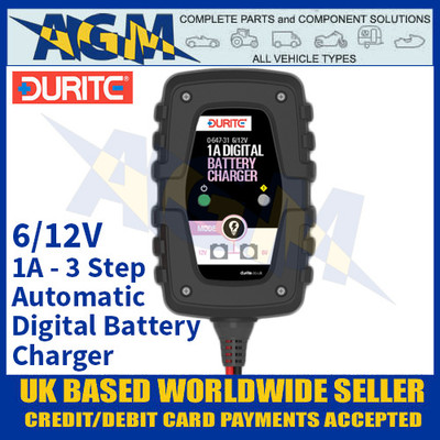 Durite 0-647-31 1 Amp 3 Step Automatic Digital Battery Charger - 6/12V