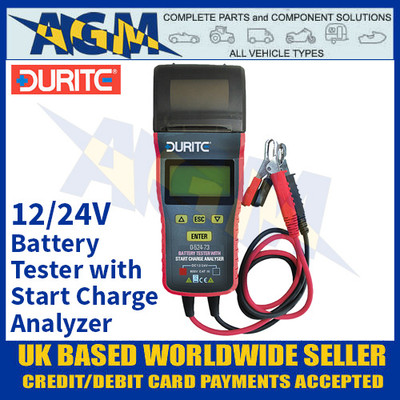 Durite 0-524-73 Battery Tester with Smart Charge Analyzer + Printer