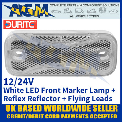 Durite 0-171-70 White Front LED Marker Lamp with Reflex Reflector and Flying Leads - 12/24V