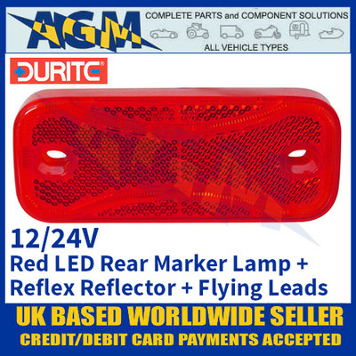 Durite 0-171-75 Red Rear LED Marker Lamp with Reflex Reflector and Flying Leads - 12/24V