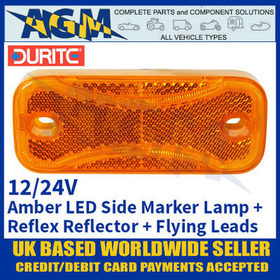 Durite 0-171-80 Amber Side LED Marker Lamp with Reflex Reflector and Flying Leads - 12/24V