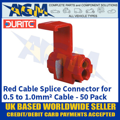 Durite 0-560-11 Red Cable Splice Connectors for 0.5 to 1.0mm2 Cable - 50 Pack