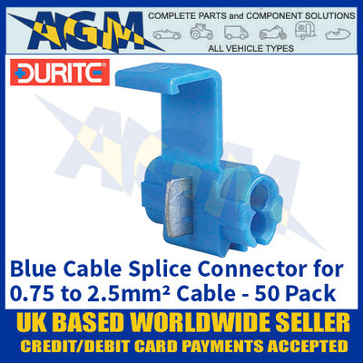 Durite 0-560-12 Blue Cable Splice Connectors for 0.75 to 2.5mm2 Cable - 50 Pack