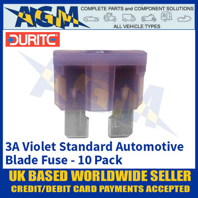 Durite 0-375-03 Standard Automotive Blade Fuse - 3A Violet - Pack of 10