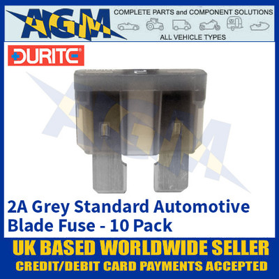 Durite 0-375-02 Standard Automotive Blade Fuse - 2A Grey - Pack of 10