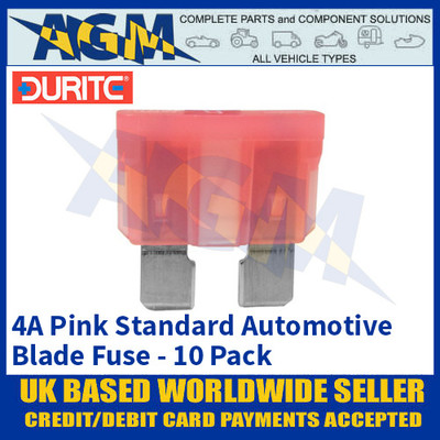 Durite 0-375-04 Standard Automotive Blade Fuse - 4A Pink - Pack of 10