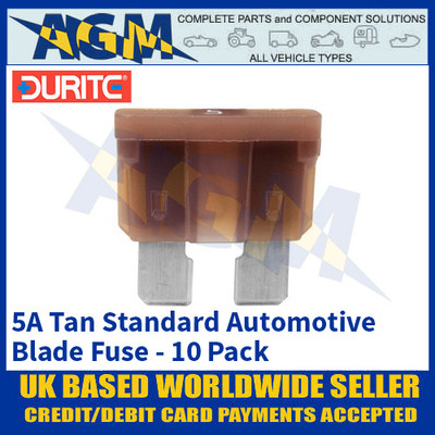 Durite 0-375-05 Standard Automotive Blade Fuse - 5A Tan - Pack of 10