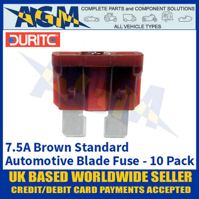 Durite 0-375-07 Standard Automotive Blade Fuse - 7.5A Brown - Pack of 10