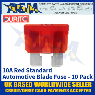 Durite 0-375-10 Standard Automotive Blade Fuse - 10A Red - Pack of 10