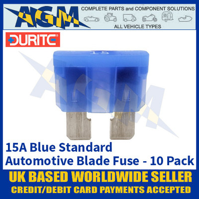 Durite 0-375-15 Standard Automotive Blade Fuse - 15A Blue - Pack of 10