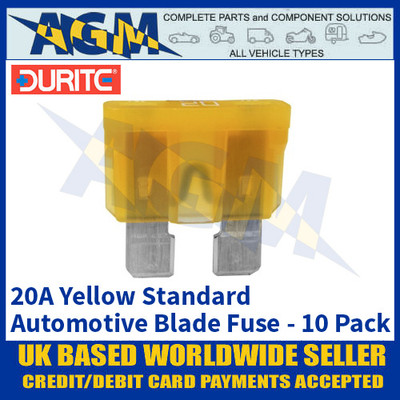 Durite 0-375-20 Standard Automotive Blade Fuse - 20A Yellow - Pack of 10