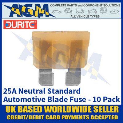 Durite 0-375-25 Standard Automotive Blade Fuse - 25A Neutral - Pack of 10
