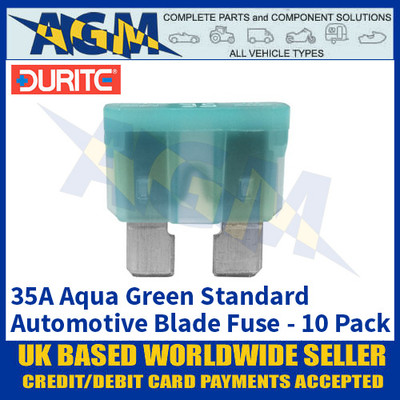 Durite 0-375-35 Standard Automotive Blade Fuse - 35A Aqua Green - Pack of 10