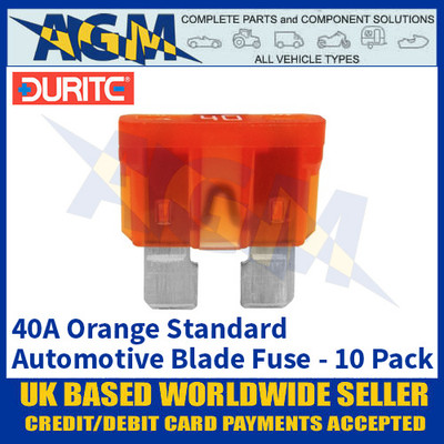 Durite 0-375-40 Standard Automotive Blade Fuse - 40A Orange - Pack of 10