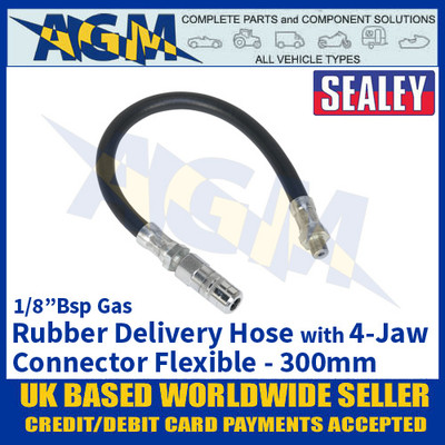 "Sealey GGHE300 Rubber Delivery Hose with 4-Jaw Connector Flexible 300mm 1/8""BSP Gas"