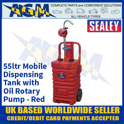 Sealey DT55RCOMBO1 55ltr Mobile Dispensing Tank with Diesel Pump - Red