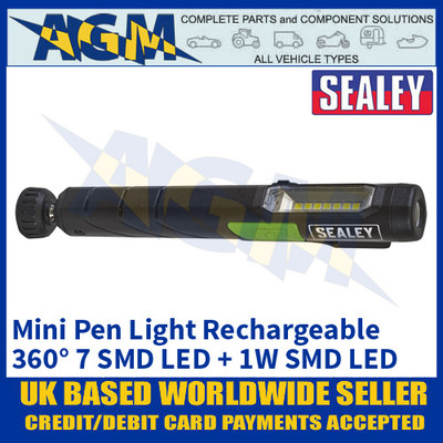 Sealey LED3607G 360° Mini Pen Light Rechargeable 7 SMD LED + 1W SMD LED