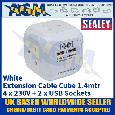 Sealey EL144USB Extension Cable Cube 1.4mtr 4 x 230V + 2 x USB Sockets - White