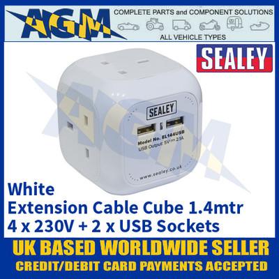 Sealey EL144USB Extension Cable Cube 1.4mtr 4 x 230V + 2 x USB Sockets - White