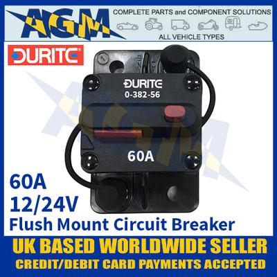 Durite 0-382-55 Flush Mount Circuit Breaker, 12/24v, 50A