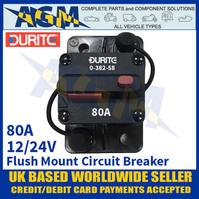 Durite 0-382-58 Flush Mount Circuit Breaker, 12/24v, 80A