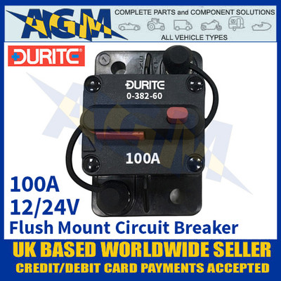 Durite 0-382-60 Flush Mount Circuit Breaker, 12/24v, 100A