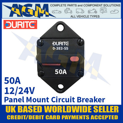 Durite 0-383-55 Panel Mount Circuit Breaker, 12/24v, 50A