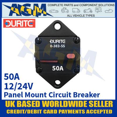 Durite 0-383-55 Panel Mount Circuit Breaker, 12/24v, 50A