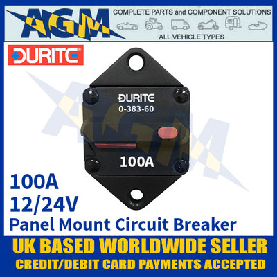 Durite 0-383-60 Panel Mount Circuit Breaker, 12/24v, 100A