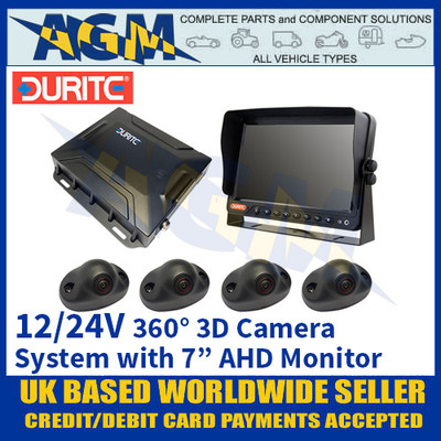 "Durite 0-870-25 360° 3D Camera System (With 7"" AHD Monitor) 12/24V"