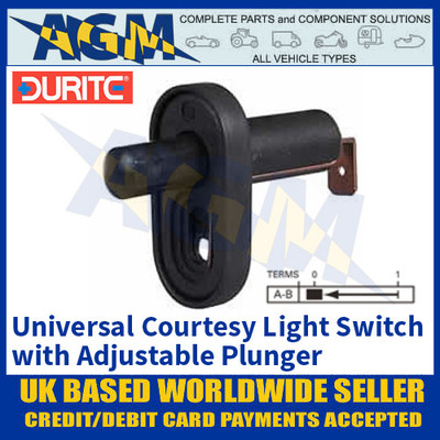 Durite 0-486-00 Universal Courtesy Light Switch with Adjustable Plunger