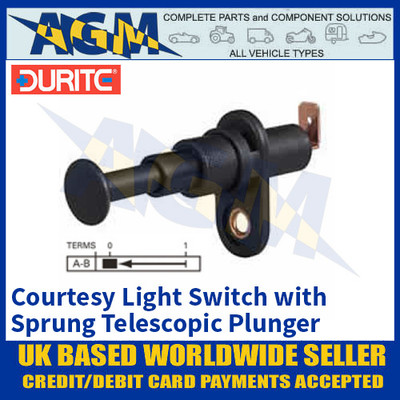 Durite 0-486-02 Courtesy Light Switch with Sprung Telescopic Plunger