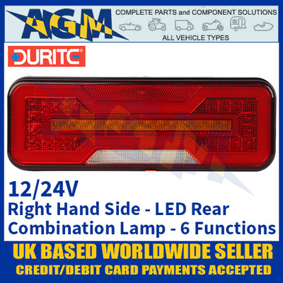 Durite 0-071-60 Right Hand LED Rear Combination Lamp, 6 Functions, 12/24V
