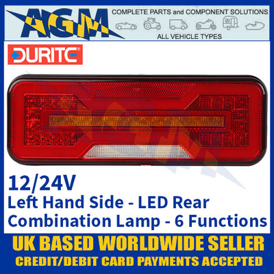 Durite 0-071-61 Left Hand LED Rear Combination Lamp, 6 Functions, 12/24V