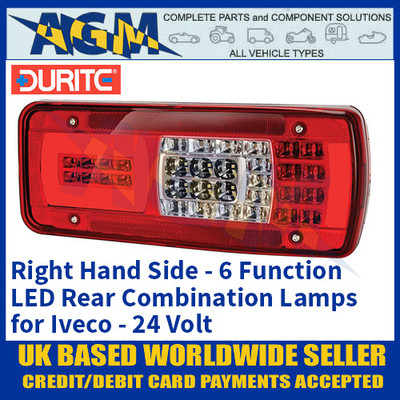 Durite 0-077-20 Right Hand LED Rear Combination Lamp, 6 Functions, Iveco, 24V