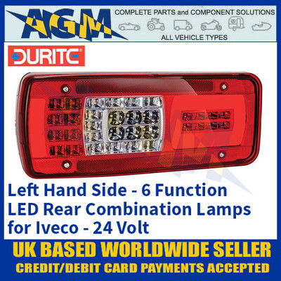Durite 0-077-21 Left Hand LED Rear Combination Lamp, 6 Functions, Iveco, 24V