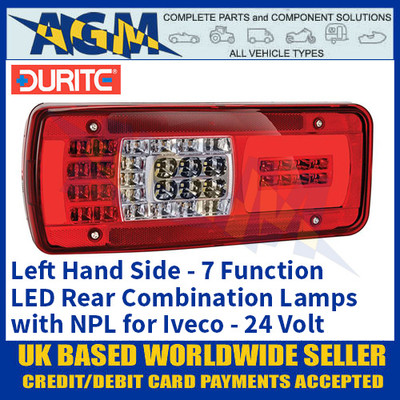Durite 0-077-22 Left Hand LED Rear Combination Lamp, 7 Functions with NPL, Iveco, 24V