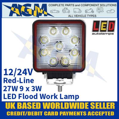 LED Autolamps RL10527BM LED Flood/Work Lamp 27W - 9 x 3W LED's