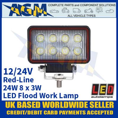 LED Autolamps RL11024BM LED Flood/Work Lamp 24W - 8 x 3W LED's