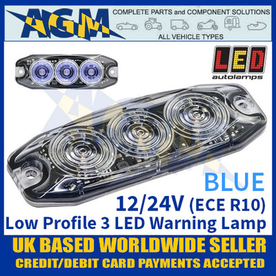 LED Autolamps LPR103DVB Low Profile 3-LED Warning Lamp - Blue - 12/24V