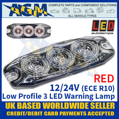 LED Autolamps LPR103DVR Low Profile 3-LED Warning Lamp - Red - 12/24V
