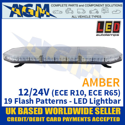 LED Autolamps EQPLB744R65AM Amber Lightbar - 12/24V - 19 Flash Patterns