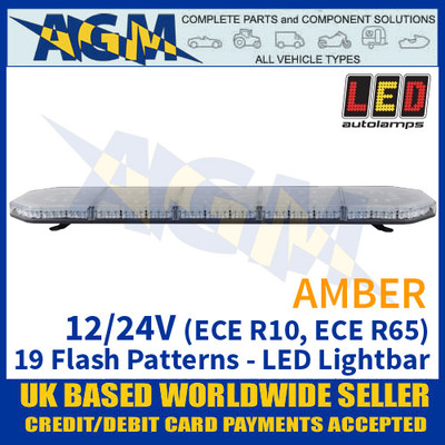 LED Autolamps EQPLB1185R65AM Amber Lightbar - 12/24V - 19 Flash Patterns