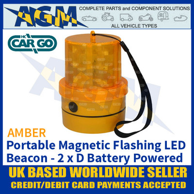 HC CARGO 172253 Amber LED Beacon, Portable, Magnetic, Battery Powered